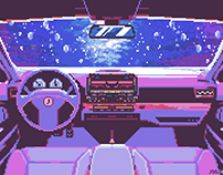 Driving Underwater (Anime) / Pixel-Art