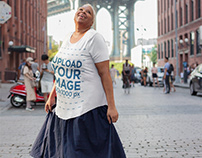 Mockup of a Woman Wearing a Plus-Size T-Shirt
