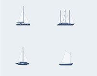 Sailboat. Icon set.