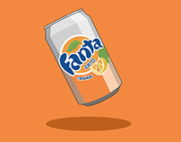 Fanta Can Illustration - made with the curvature pen