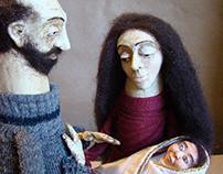 Nativity scene - set of papier-mâché and textile dolls