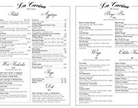 La Cucina restaurant menu