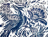 Blue China Lino Cut