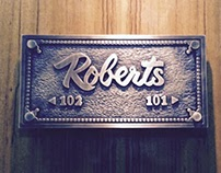 Brass nameplate from custom calligraphy