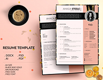 Black and Gold Resume Template / CV Template