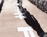 in Tokyo streets - illustration