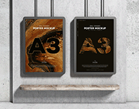 A3 Wall Framed Poster Mockup Free