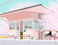 Original Cat Illustration-TABINEKO April Calendar