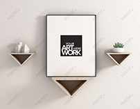 Frame Mockup Triangle Floating Shelves - Portrait