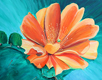 Cactus Flower Painting Commission