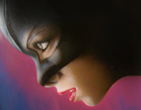 Paint airbrush catwoman and retouch on photoshop