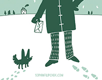 Set of winter postcards
