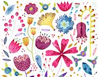 Flowers, birds and butterflies