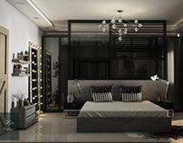 Modern master bedroom designed by Reem Elgafi