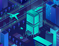 "Animated isometric banner ""night city"" for Logisee"