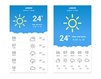 Weather app screen variants