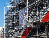 ARCHITECTURE OUTSIDE THE GEORGES POMPIDOU CENTER