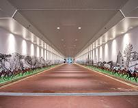 JRA 札幌競馬場 地下道 ウォールアート 『北海道ステークス 3,000km』