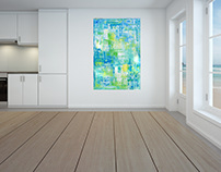 beach house abstract acrylic painting on canvas