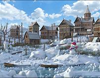 Snow Town Environment. 3d