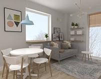 Pastel- living room and kitchen