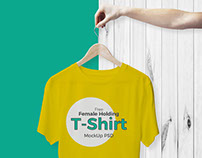 Free Female Holding Hanger With T-Shirt Mockup PSD