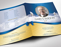 Blue Ribbon Funeral Program Large Word Publisher Templa