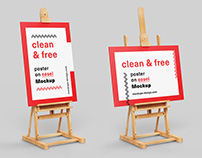 Free poster on easel mockup