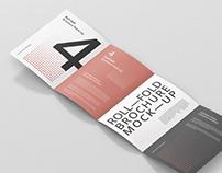 Roll-Fold Brochure Mockup - 8.5x11 inch US Letter