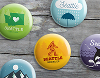 Washington State / Seattle Iconic Souvenir Pins
