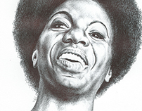 Bic biro drawing of Nina Simone