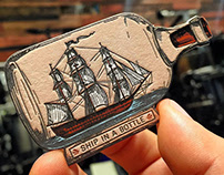 Ship In A Bottle Letterpress Business Cards