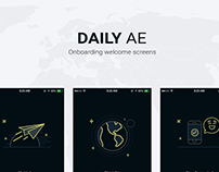 DailyAE Onboarding screens