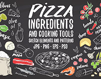 Pizza ingredients set and patterns