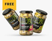 Free Olives Jar Mockup Set