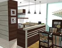 PROJETO:  estar, jantar e cozinha em casa de praia