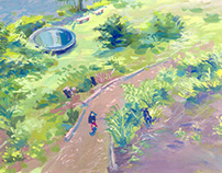 collection of gouache illustrations
