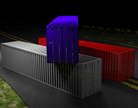 3d container on road