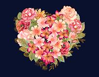 Watercolor glitter floral collection La Dolce Vita