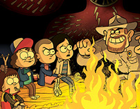 Stranger Things + Gravity Falls Print