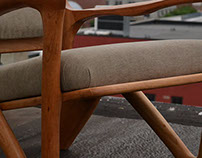 Cherry Wood Sculpted Lounge Chair