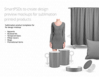 Objects Mockups for 2d/3d heat transfer dye Sublimation