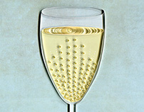 Glass of Champagne Paper Art