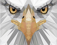 symmetric low poly eagle, fox and lion