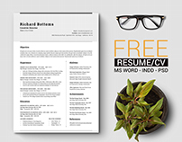 Free Timeless Resume CV with US Letter & A4
