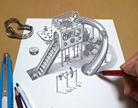 A Very Small 3D Illusion Drawing on the Desk
