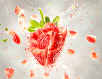 exploding strawberry and red radish