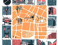 Around The Botanical Garden - Screenprinted Map