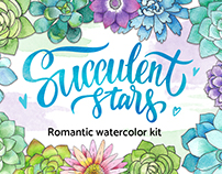 Succulent stars - romantic watercolor kit
