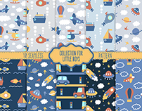 10 Seamless patterns. Collection for little boys